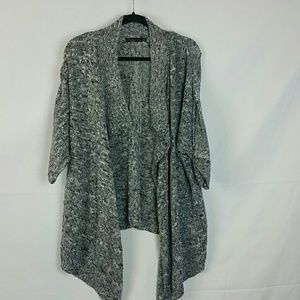 Prana Birdie sweater waterfall open front in coal